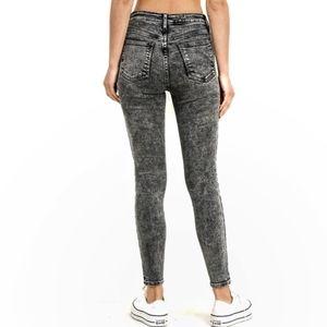 Just Black High Waisted Acid Wash Jeggings/Jeans